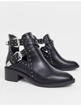 Pimkie Buckle Studd Boot In Black by Pimkie