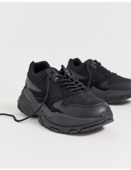 Asos Design Wide Fit Sneakers In Black Mix With Chunky Sole by Asos Design