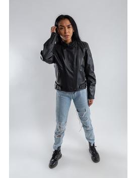 Vintage Oversized Biker Jacket / Black Leather Motorcycle Jacket / Ladies Leather Biker Jacket / Men's Leather Motorbike Jacket / Size M/L by Etsy