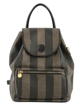 Pequin Front Pocket Coated Medium Brown Canvas Backpack by Fendi