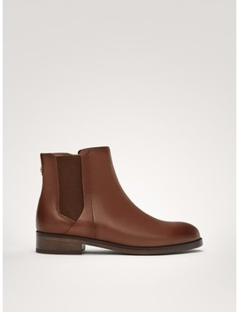 Tan Nappa Leather Ankle Boots by Massimo Dutti