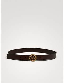 Logo Leather Belt by Massimo Dutti