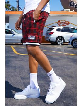 Tartan Shorts With Sports Tape Detail by Boohoo