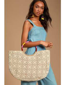 Summer Bash Ivory Crochet Tote by Lulus