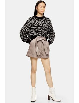 Taupe Pu Oversized Crocodile Shorts by Topshop