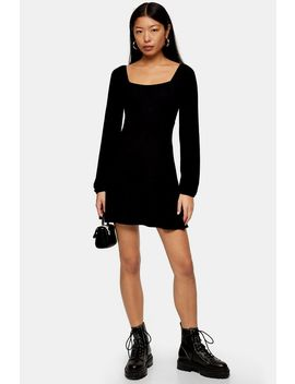 Black Blouson Mini Dress by Topshop