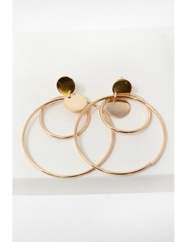 Gold Triple Hoop Earrings by Ami Clubwear