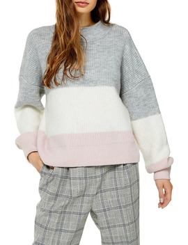 Stripe Colorblock Sweater by Topshop