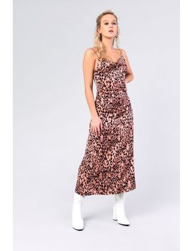 **Leopard Sateen Midi Dress By Glamorous by Topshop