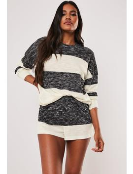 Grey Soft Knit Contrast Stripe Long Sleeve Top And Shorts Pyjama Set by Missguided