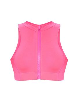 Hot Pink High Neck Zip Back Gym Crop Top by Prettylittlething
