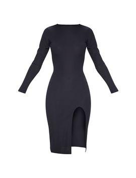 Black Rib Long Sleeve Split Front Midi Dress by Prettylittlething
