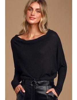 Very Cool Black Thermal Long Sleeve Top by Lulus