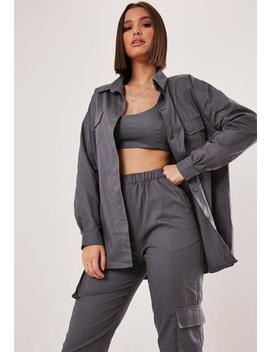 Grey Co Ord Oversized Shirt by Missguided
