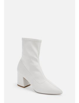 White Faux Leather Pointed Toe Mid Heel Sock Boots by Missguided