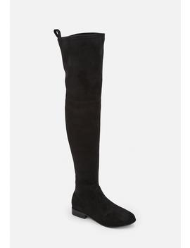 Black Flat Faux Suede Over The Knee Boots by Missguided