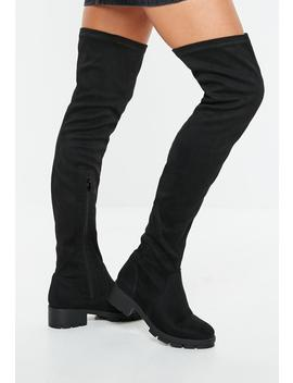 Black Knee High Cleated Sole Boots by Missguided