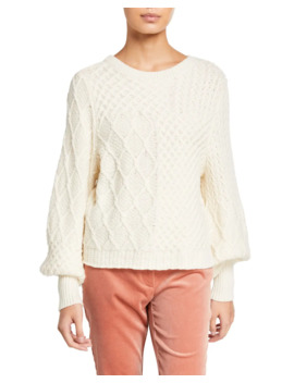 Patchwork Cable Crewneck Sweater by Frame