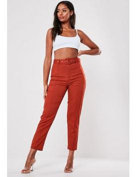 Red Co Ord Seam Detail Cigarette Trousers by Missguided