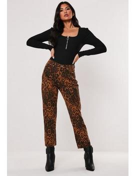 Brown Leopard Print Co Ord Wrath Straight Leg Jeans by Missguided