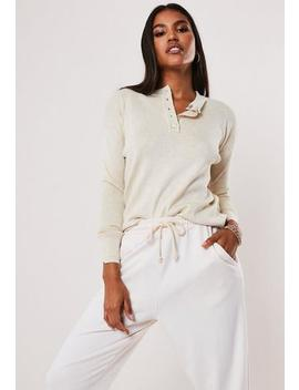 Stone Grandad Collar Loose Knitted Jumper by Missguided