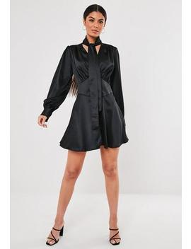 Black Button Down Pussy Bow Satin Mini Dress by Missguided