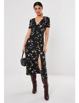 Black Floral Button Belt Midi Dress by Missguided