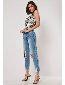Blue Riot Busted Knee High Rise Mom Jeans by Missguided