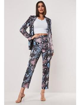 Blue Co Ord Satin Snake Print Trousers by Missguided