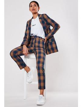 Navy Co Ord Check Belted Cigarette Trouser by Missguided