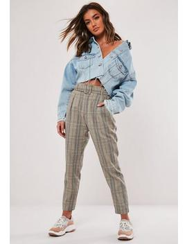Brown Check Belted Cigarette Trousers by Missguided