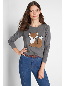 Feeling Foxy Embroidered Pullover Sweater by Compania Fantastica