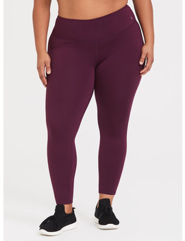 Burgundy Purple Active Knit Fleece Legging by Torrid