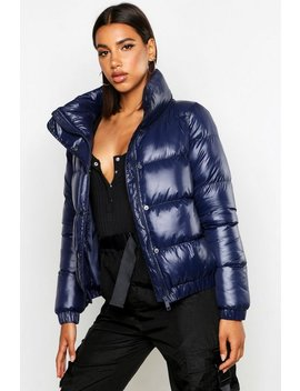 High Shine Panelled Puffer Jacket by Boohoo
