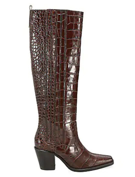 Western Knee High Croc Embossed Leather Boots by Ganni