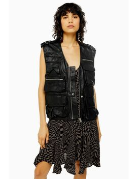 Idol Leather Utility Gilet by Topshop