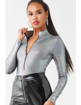 Iridescent Metallic Pin Dot Bodysuit by Forever 21