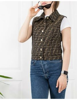 🔥 Fendi 🔥 Womens Rare Vintage Zucca Ff Monogram Jacket Vest Gilet Coat 40 It by Fendi