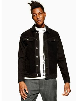Black Denim Jacket With Corduroy by Topman