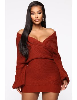 Keeping Secrets Sweater Mini Dress   Rust by Fashion Nova