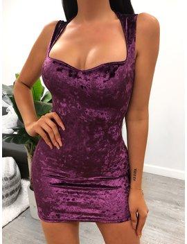 Autumn Velvet Dress (Purple) by Laura's Boutique