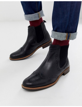 Silver Street Brogue Chelsea Boot In Black by Asos