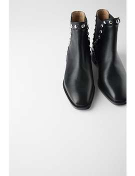 Studded Low  Heeled Leather Ankle Boots Booties Shoes Woman by Zara