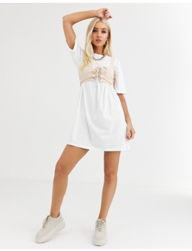 Boohoo Corset Detail T Shirt Dress In White by Boohoo