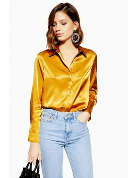 Ochre Satin Button Down Shirt by Topshop