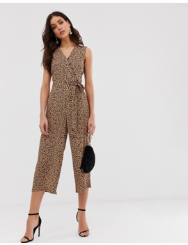 Warehouse Cropped Jumpsuit With Belt In Leopard Print by Warehouse