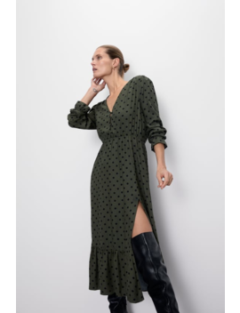 Polka Dot Print Midi Dress New Inwoman by Zara