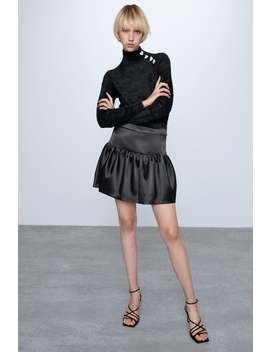 Satin Effect Mini Skirt  Long Sleeve T Shirts Trf by Zara