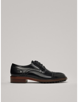 Lace Up Shoes With Broguing by Massimo Dutti