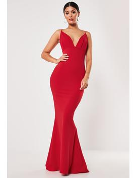 Red Pleated Bust Fishtail Maxi Dress by Missguided